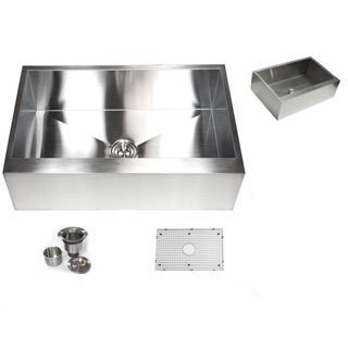 Farmouse 33-inch 16-gauge Stainless Steel Flat Apron Kitchen Sink with Accessories