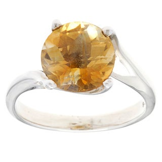 Kele & Co. Sterling Silver Round-cut Citrine Ring