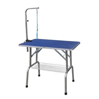 Go Pet Club Blue Stainless Steel/Wood/Aluminum Heavy Duty Pet Grooming Table with Arm