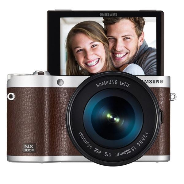 Samsung NX300M Mirrorless 20.3MP Wi-Fi Brown Digital Camera Body with 18-55mm OIS Lens