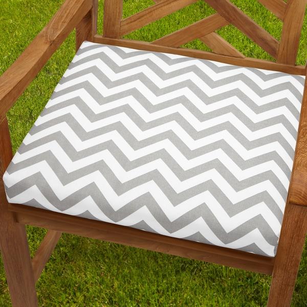Bristol 19 Inch Indoor/ Outdoor Chevron Grey Chair Cushion