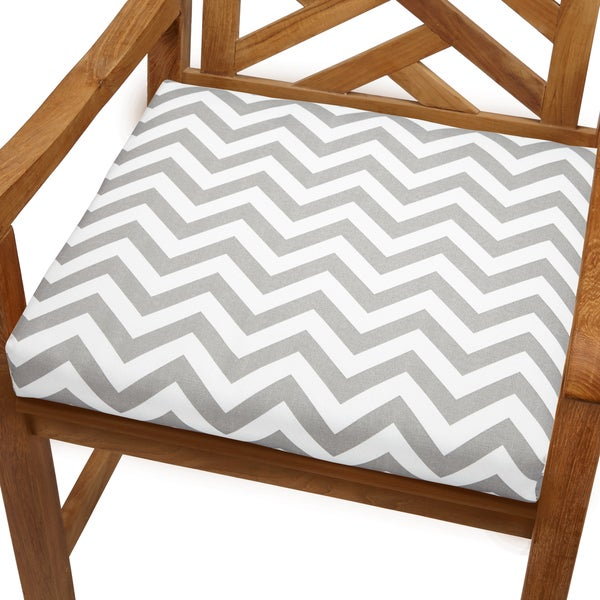 Bristol 20 Inch Indoor/ Outdoor Grey Chevron Chair Cushion   Free Shipping  Today   Overstock.com   16172862
