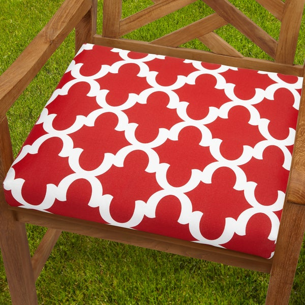 Shop Bristol 20 Inch Indoor Outdoor Scalloped Red Chair Cushion Overstock 8962820