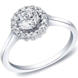 Auriya 14k Gold 3/4ct TDW Round Diamond Halo Engagement Ring (H-I, SI1-SI2)