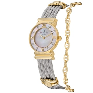 Charriol Women's 028YD1.540.552' 'St Tropez' Mother of Pearl Diamond Dial Goldtone Watch