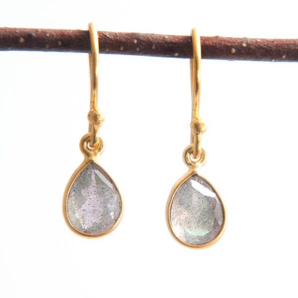 Sitara Handmade Goldoverlay Smoky Labradorite Dangle Earrings (India)