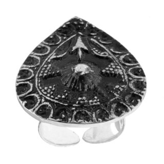 Antiqued Silverplated Abstract Teardrop Fashion Ring (India)