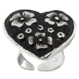 Antiqued Silverplated Heart-shaped Floral Fashion Ring (India)