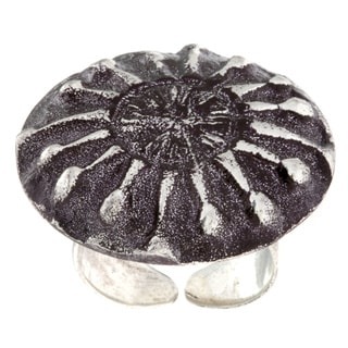 Antiqued Silverplated Abstract Starburst Fashion Ring (India)