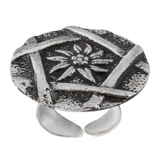 Handmade Antiqued Silverplated Flower and Abstract Design Fashion Ring (India)