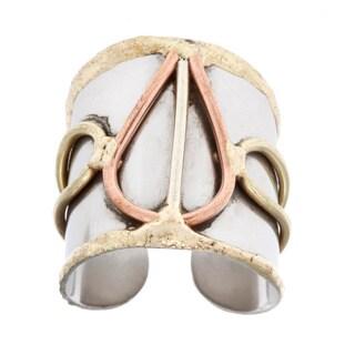 Handmade Mixed Metal Tri-tone Teardrop Fashion Ring (India