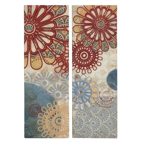 'Flower Blossom' 2-piece Embroidery Canvas Wall Art Decor