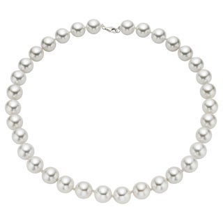 Pearlyta Sterling Silver White Shell Pearl Strand Necklace (12mm)