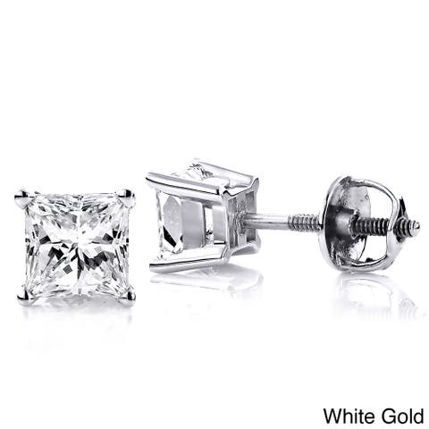 Luxurman 14k White Gold 1 1/2ct TDW Princess-cut Clarity-enhanced Diamond Stud Earrings