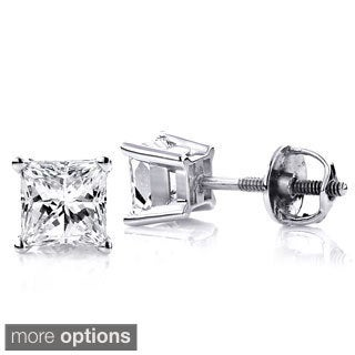 Luxurman 14k White Gold 1 1/2ct TDW Princess-cut Clarity-enhanced Diamond Stud Earrings (E-F, SI1-SI