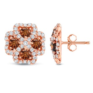 Auriya 14k Rose Gold 3 1/4ct TDW Brown and White Four Leaf Clover Diamond Earrings