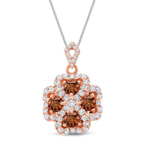 Auriya 14k Rose Gold Brown Diamond Halo Necklace 1 3/4ctw