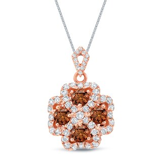 Auriya 14k Rose Gold 1 3/4ct TDW Brown and White Four Leaf Clover Diamond Necklace