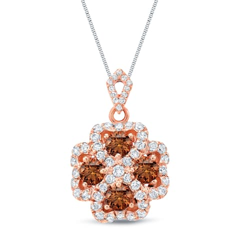 Auriya 1 3/4ctw Halo Clover Brown and White Diamond Necklace 14k Rose Gold