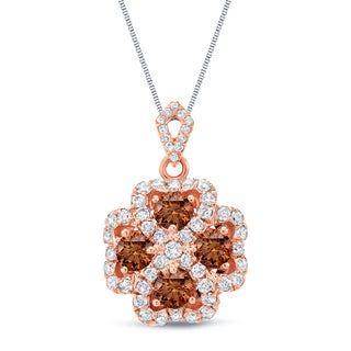Auriya 14k Rose Gold 1 3/4ct TDW Brown and White 4-Leaf Clover Diamond Necklace