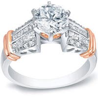 Auriya 14k Two-tone Rose Gold 1 3/5ct TDW Certified Diamond Engagement Ring with Hearts