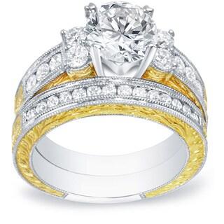 Auriya 14k Two-Tone Gold 2ct TDW Certified Vintage Inspired 5-Stone Diamond Engagement Ring Set