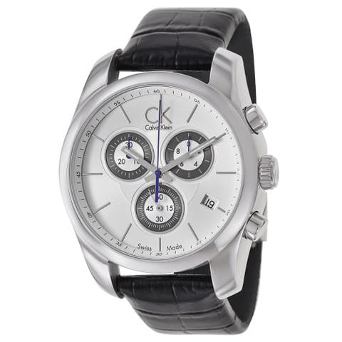 Calvin Klein Men's 'Strive' Black Leather Chronograph Watch