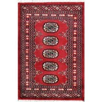 Handmade Herat Oriental Pakistani Bokhara Wool Rug (Pakistan) - 2'1 x 2'10