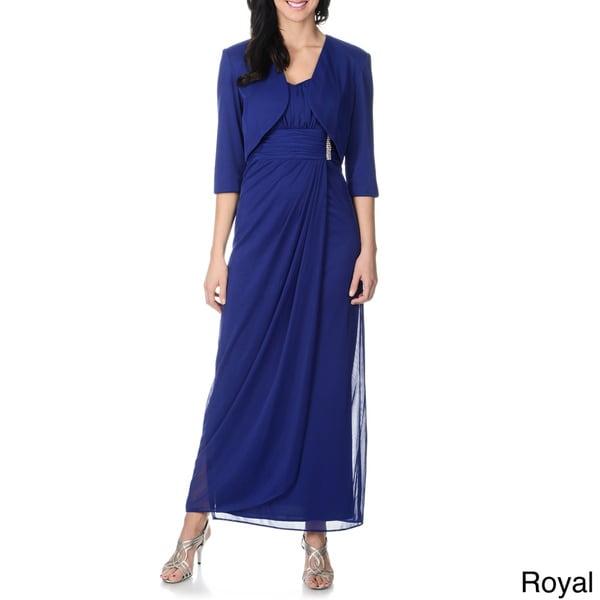 R & M Richards Women's Royal Blue 2-piece Gown and Jacket Set