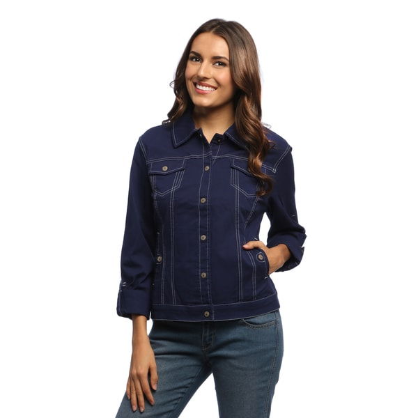 Live A Little Women's Navy Blue Stitch Detail Jean Jacket