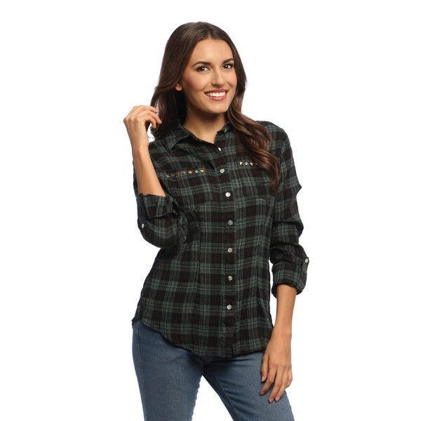 Women's Olive and Black Plaid Rolled Sleeve Shirt