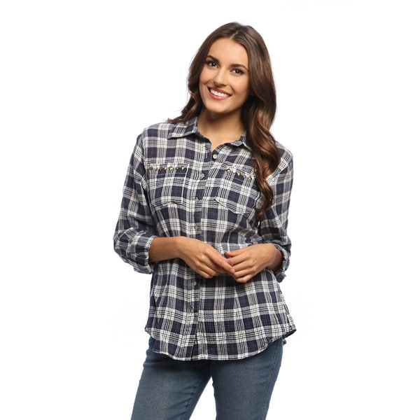 Live a little women 39 s navy white plaid rolled sleeve for Womens navy plaid shirt