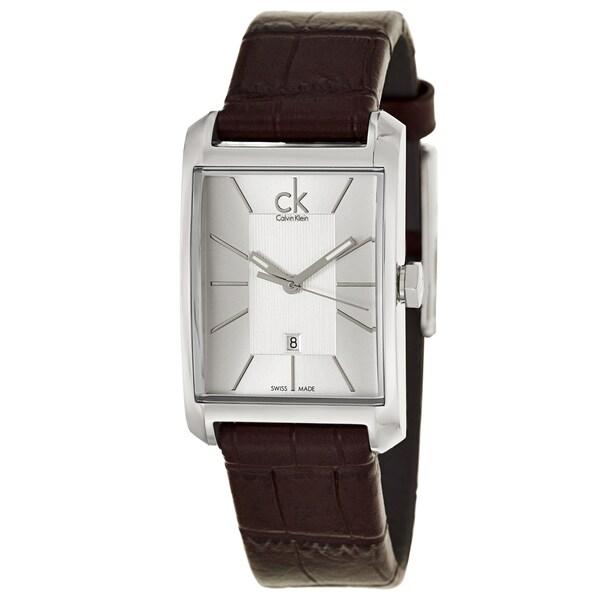 Calvin Klein Women's 'Window' Brown Leather Swiss Quartz Watch