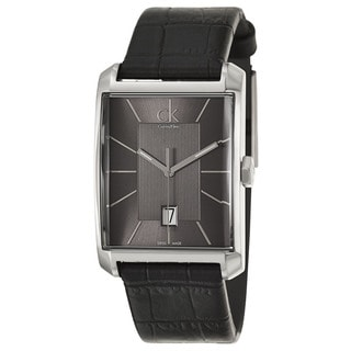 Calvin Klein Men's 'Window' Black Leather Swiss Quartz Watch