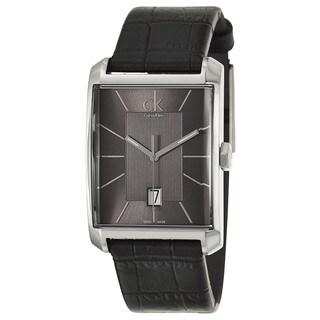 Calvin Klein Men's 'Window' Black Leather Swiss Quartz Watch