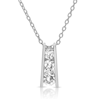 Collette Z Sterling Silver Cubic Zirconia Graduated Necklace