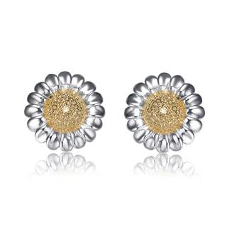 Collette Z Sterling Silver Cubic Zirconia Sunflower Earrings