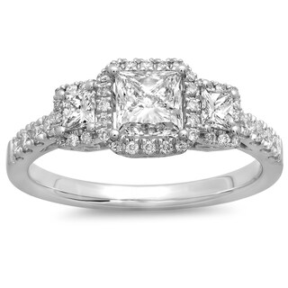 Azaro 14K White Gold 1 1/4ct TDW Princess Cut Diamond Halo Engagement Ring (G-H, SI2-I1)