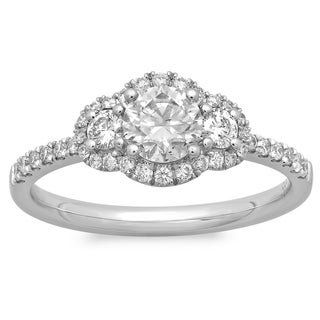 Azaro 14K White Gold 7/8ct TDW Diamond 3-stone Vintage Design Engagement Ring (G-H, SI2-I1)