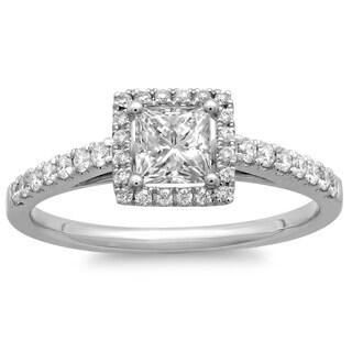 Azaro 14k White Gold 3/4ct TDW Princess Diamond Halo Engagement Ring