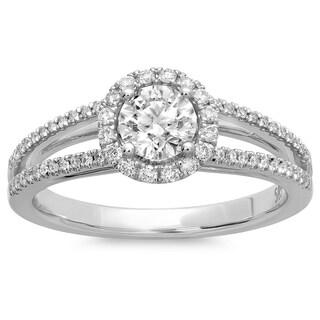 Azaro 14k White Gold 3/4ct TDW Round-cut Diamond Halo Engagement Ring (G-H, SI2-I1)