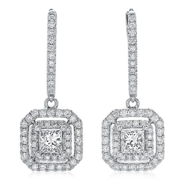 Azaro 14k White Gold 1 1/10ct TDW Princess-cut Diamond Double Halo Leverback Earrings