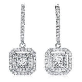 Azaro 14k White Gold 1 1/10ct TDW Princess-cut Diamond Double Halo Leverback Earrings (G-H, SI2-I1)