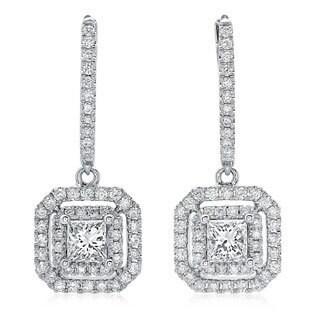 Azaro 14k White Gold 1 1/10ct TDW Princess-cut Diamond Double Halo Leverback Earrings