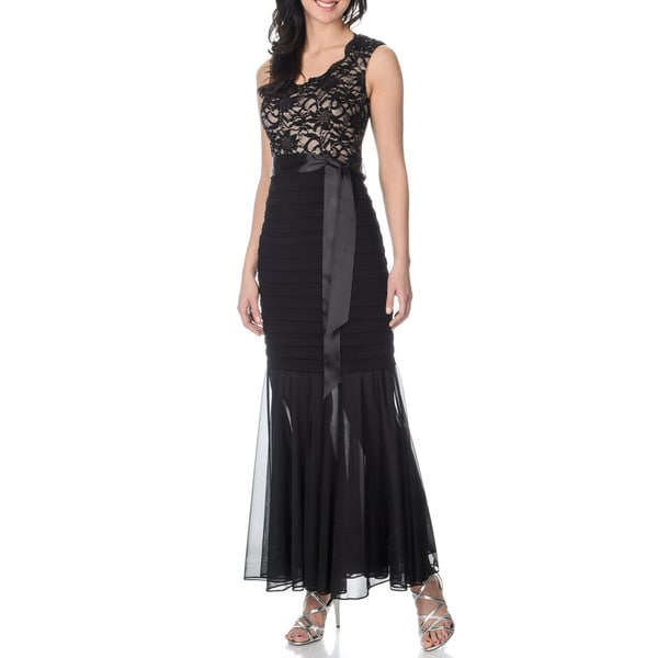R & M Richards Women's Black/ Taupe Shutter Tuck Mermaid Gown