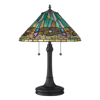 Tiffany-style King with Vintage Bronze Finish Table Lamp