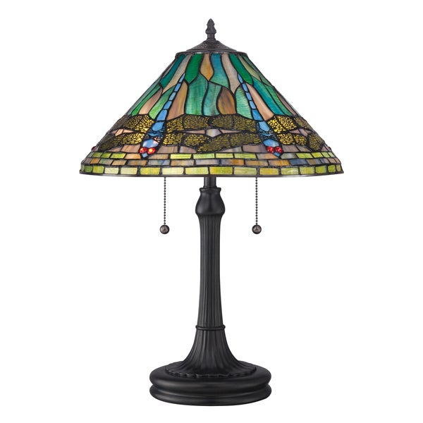 Quoizel Tiffany-style King with Vintage Bronze Finish Table Lamp
