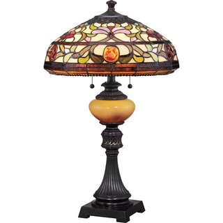 Tiffany-style Jewel with Imperial Bronze Finish Table Lamp