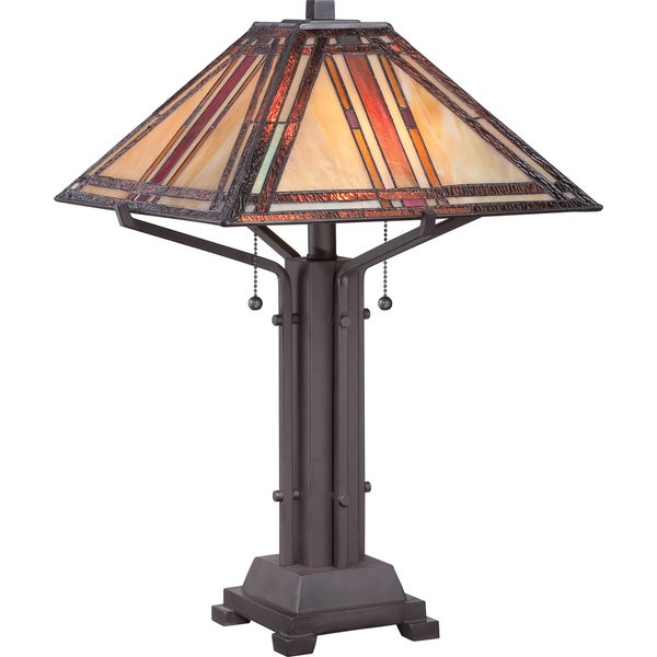 Tiffany-style Revere with Western Bronze Finish Table Lamp