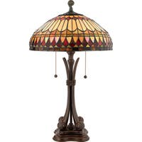 Tiffany-style West End with Brushed Bullion Finish Table Lamp
